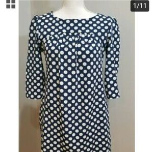 Zara Woman Navy Blue white polka dot dress
